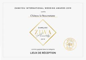 Le Château la Beaumetane récompensé par un Zankyou International Wedding Award Aix-en-Provence Marseille Lançon-Provence